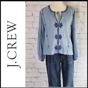JCREW Balloon Sleeve Embroidered Boho Top Size 6
